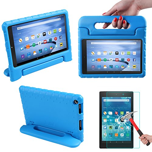 HDE Kids Shockproof Case Cover Bundle for 2015 Fire HD 8 Tempered Glass Screen Protector for 2015 Fire HD 8- Ultra Protection Drop Proof Stand fits Amazon Fire HD 8 inch Tablet (5th Generation)(Blue) (Kindle Fire Hd Bundle Package compare prices)