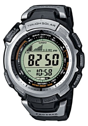 Casio Men's Digital Watch PRW-1300-1VER With Pro-Trek Solar Powered Triple Sensor Radio Controlled Resin Strap