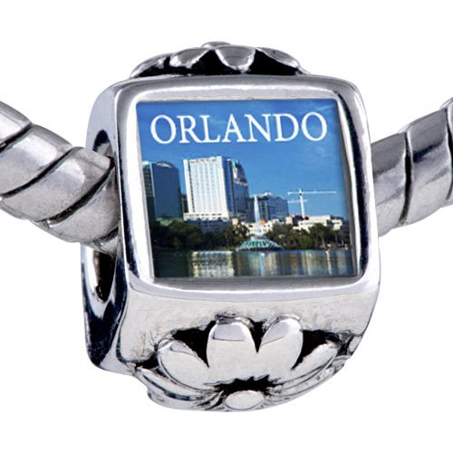 Pugster Silver Plated Photo Bead Orlando City Scenery Photo Flower European Charm Bead Fits Pandora Bracelet