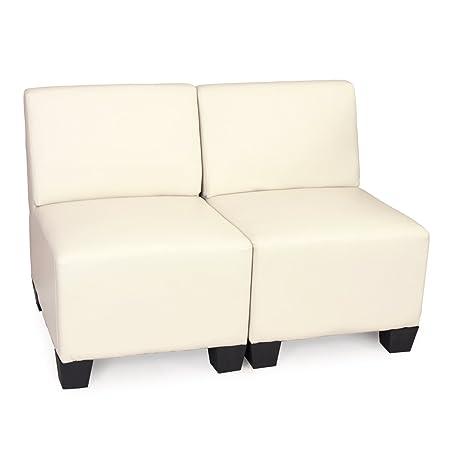 Modular 2-Sitzer Sofa Couch Lyon, Kunstleder ~ creme, ohne Armlehnen