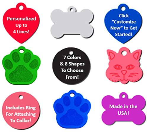 Vet Recommended Pet ID Tag Dog and Cat Personalized | Many Shapes and Colors to Choose From! | MADE IN USA, Strong Anodized Aluminum (Pet Collar Custom compare prices)