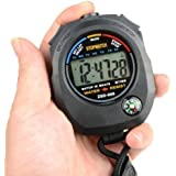 HDE Water Resistant Sports Combine Digital Chrono Stopwatch Timer with Compass and Lanyard