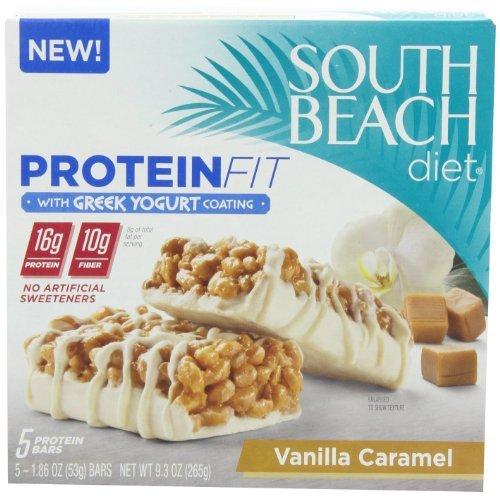 South Beach Diet Greek Yogurt Coating Protein Fit Bar Vanilla Caramel, 5 Count, Pack of 3