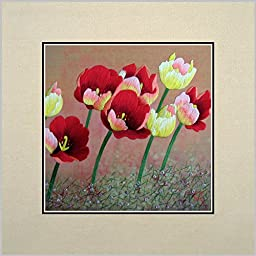 King Silk Art 100% Handmade Embroidery Unframed The Blooming Of Colorful Red Yellow Tulips Oriental Wall Hanging Art Asian Decoration Tapestry Artwork Picture Gifts 36040W