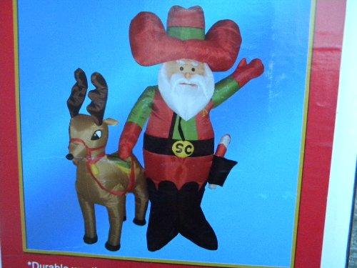 71inch Christmas Cowboy Santa  Reindeer Airblown