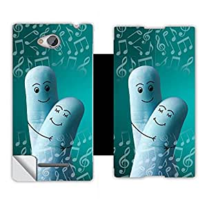 Phone Candy Designer Flip Cover with hi-res printed Vinyl sticker wrap-around for Sony Xperia C C2305