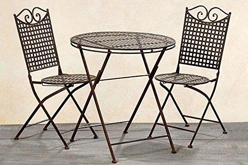 Garten Set Lina, ein Tisch und zwei Stühle aus Metall