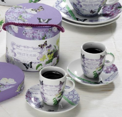 Paperproducts Design Gift Box Demitasse/Espresso Cups, Vintage Violet, Set of 2 (Espresso Cups Vintage compare prices)