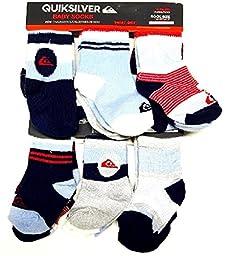 QUIKSILVER Baby Boy\'s 6-Pair Crew Socks 6-12 Months