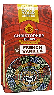 Christopher Bean Coffee Ground Flavored Whole Bean Coffee, French Vanilla, 12 Ounce