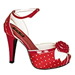 Red & White Peep Toe Rose Vintage Style High Heel Women Sandals