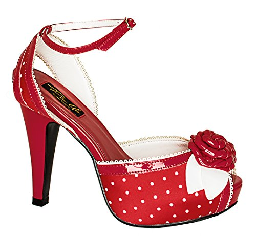 Red & White Peep Toe Rose Vintage Style High Heel Women Sandals 0