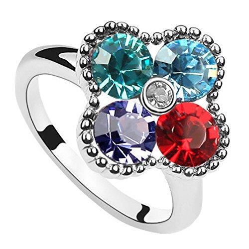 "RI96017C1-8 Fashion ""Lucky Four Flowers"" Austrian Crystal Alloy Ring"