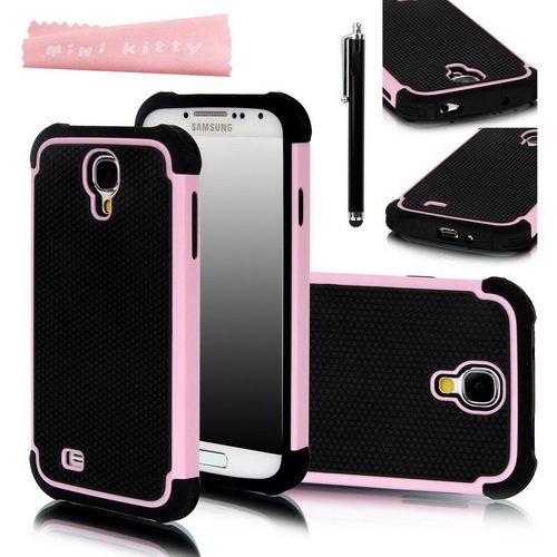 Mini Kitty-Baby Pink + Schwarz Hybrid Dual Layer Rüstung Defender Case Schutzhülle (Hartplastik mit Soft Silicon) für Samsung Galaxy S4 S IV i9500 + Screen Protector + Stylus + Schwarz Mikrofaser Reinigungstuch