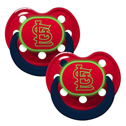 St Louis Cardinals Glow in Dark 2-Pack Baby Pacifier Set - MLB Infant Pacifiers by Baby Fanatic