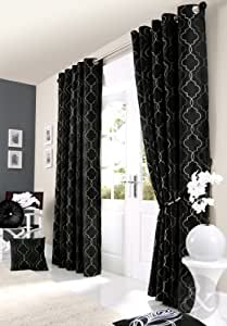 Faux Silk Designer Curtains Embroidered Ready Made Lined Eyelet Curtain Black Grey Silver