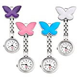 Top Plaza Pack of 4 Womens Girls Butterfly Nurse Fob Clip On Brooch Hanging Pocket Watches Set