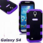 myLife (TM) Black and Purple - Smooth Design (2 Piece Hybrid Bumper) Hard and Soft Case for the Samsung Galaxy S4 Fits Models: I9500, I9505, SPH-L720, Galaxy S IV, SGH-I337, SCH-I545, SGH-M919, SCH-R970 and Galaxy S4 LTE-A Touch Phone (Fitted Back Solid Cover Case + Internal Silicone Gel Rubberized Tough Armor Skin)
