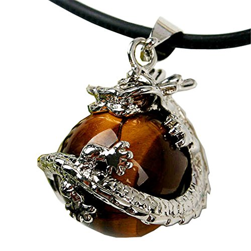 "Jovivi Dragon Ball Wrapped Round Gemstone Pendant Necklace Gift 19""L (Natural Yellow Tiger Eye)"