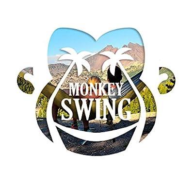 Monkey Swing Hängematte aus Fallschirm Nylon Ultra Light (275 x 140 cm, 220 kg Traglast) im Set mit 2 x 300kg-Schwerlastgurt (275 cm lang, 2,5 cm breit) und 2 x Karabiner, Outdoor Trekking & Camping Hammock, Reise-Hängematte, Travel-Hammock, Garten, Str
