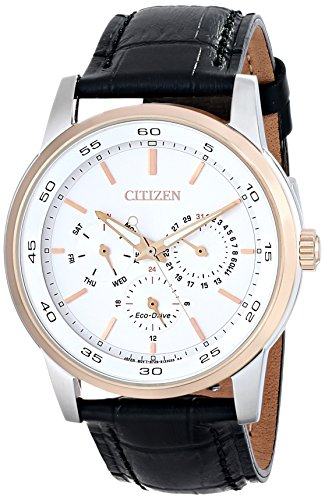 Citizen Eco-Drive Dress Multifunction Leather - Black Men's watch #BU2016-00A