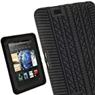 iGadgitz Black Silicone Skin Case Cover with Tyre Tread Design for Amazon Kindle Fire HD 7 Display Wi-fi 16GB 32GB Tablet + Screen Protector