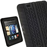 IGadgitz Black Silicone Skin Case Cover with Tyre Tread Design for Amazon Kindle Fire HD 7