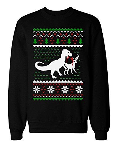 T-Rex Eating A Reindeer Ugly Christmas Design Men's Women's Unisex Sweatshirt Medium