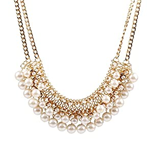 Qiyun White Faux Pearl Bib Chain Statement Multi Strands Choker Necklace Blanc Faux Perles Multi Brins Collier