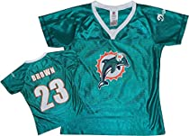 Miami Dolphins NFL Womens RON BROWN # 23 Dazzle Fashion Jersey, Teal (Medium, Teal)
