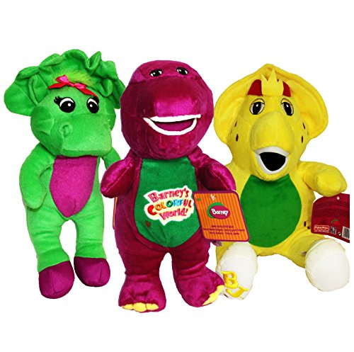 "Barney and Friends Baby Bop Bj Plush Stuffed Toys 12"" 3pcs Doll Singing I Love You (12"")"