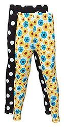 Little Stars Girls' Cotton Regular Fit Leggings- Pack of 2 (Po2Gpl_3211_22, Multi-Colour, 3-4 Years)