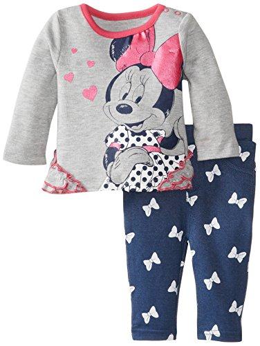 Disney Baby Baby-Girls 2 Piece Jegging Set, Light Grey Heather,3/6 Months front-413844