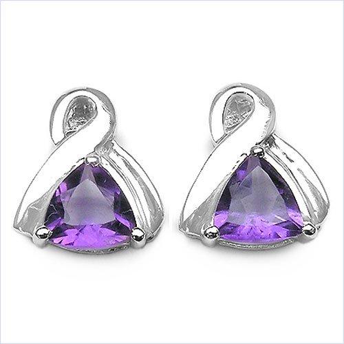 Jewelry-Schmidt-Earrings Amethyst 925 Sterling Silver Rhodium-1, 40 carats
