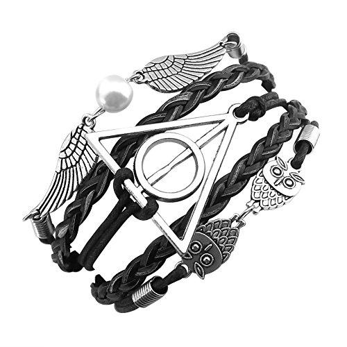 ELBLUVF Alloy Harry Potter Deathly Hallows Snitch Owl Black Synthetic Leather Bracelet (Harry Potter Snitch)