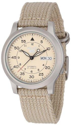 Seiko Men's SNK803K2 Beige Nylon Quartz Watch with Beige Dial