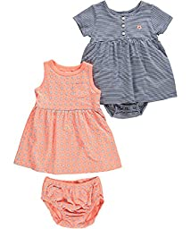 Carter\'s Baby Girls\' 2 Piece Dress and Bodysuit Set (Baby) - Coral - 3 Months