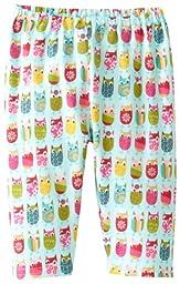 Zutano Baby Girls\' Owls Pant, Aqua, 18 Months