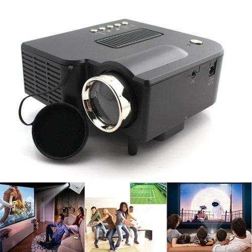 """Aometech Uc28 24W Pro Portable Hdmi Mini Home Led Projector 60"""" Cinema Theater-Black"""