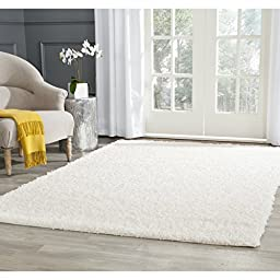 Safavieh Athens Shag Collection SGA119B White Area Rug, 5 feet 1 inches by 7 feet 6 inches (5\'1\