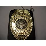 Fugitive Recovery Agent Badge Gold Badge with Holder