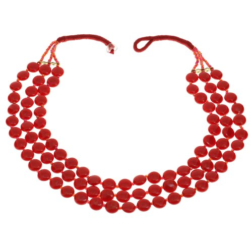 Red Beaded Necklace Indian Handmade Costume Jewelry Fashion