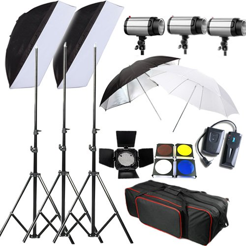 BPS 900W Photo Flash light Kit Photography Lighting Studio Strobe Light Set 3 x 300w + Carrybag
