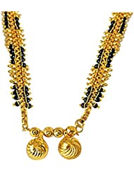 Suratdiamond Maharshtrain Style Double Vati & Gold Plated Metal & Black Beads Mangalsutra Necklace For Women (Mng16) available at Amazon for Rs.85