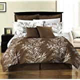 Chezmoi Collection 8-Piece Soft Microfiber Reversible Tree Branches Duvet Cover with Sheet Set King Size, Brown