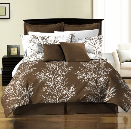 Chezmoi Collection 8-Piece Soft Microfiber Reversible Brown White Tree Branches Duvet Cover with Sheet Set, King (Branches Duvet Cover compare prices)