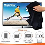 """(OVERSIZE Screen Pack) The Amazing MagicFiber® - Premium Microfiber Cleaning Cloths - Extra Large Cloths Specially Designed for Larger Screens - LCD, LED, 3D, Plasma TV Screens, iPad, Mac, iPhone, Samsung, Microsoft Surface, Laptop, Tablet, Cell Phone and other Delicate Surfaces (3 Pcs Oversized 16x16"""" / 1 Pcs Original Size 7x6"""")"""