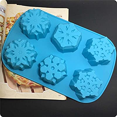 6-cavities Non Stick Snowflakes Silicone Cake Molds,Cookies Handmade Soap Moulds Biscuit Chocolate Ice Cube Mold DIY