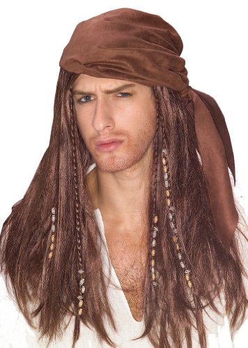 Brown Caribbean Pirate Wig - 1