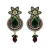 Unicorn Ethnic Wear Earrings with Kundan and Pearls for Women (Maroon & Green) - UESHER7805RG